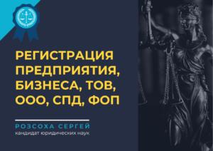 Регистрация предприятия, бизнеса, ТОВ, ООО, СПД, ФОП